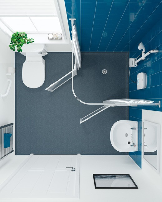 level access shower in mobility bathroom