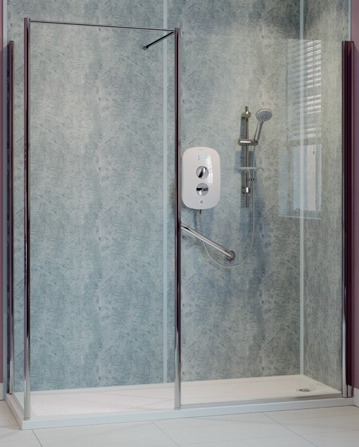walk in shower with grab rails