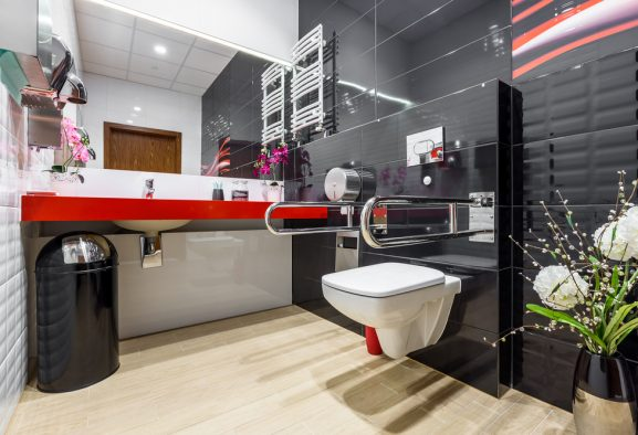 Modern,,Black,And,White,Handicap,Bathroom,With,Stainless,Grab,Bars