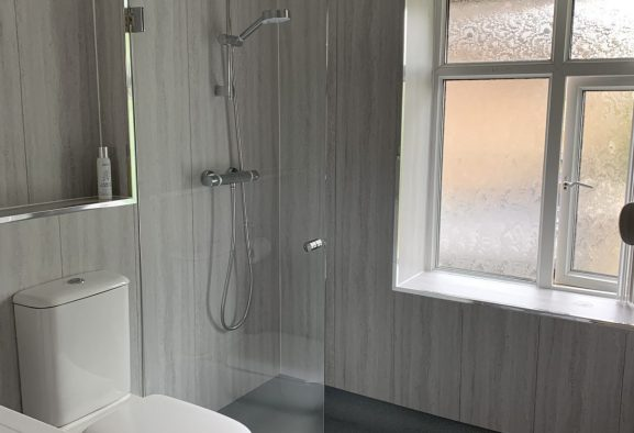 level access shower installation complete